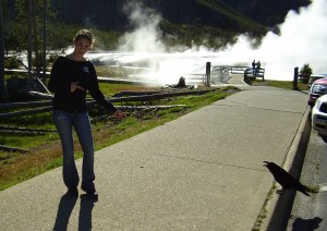 Me getting yelled at by a Raven in Yellowstone that wanted a treat NOW!