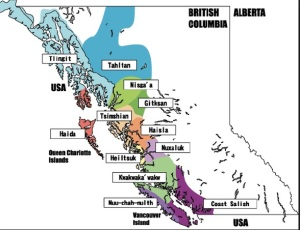 Map showing tribal delineations for NW coastal tribes including the Haida and the Tsimshian
