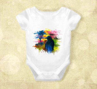 Watercolor crow onesie by art by Lucy on Etsy